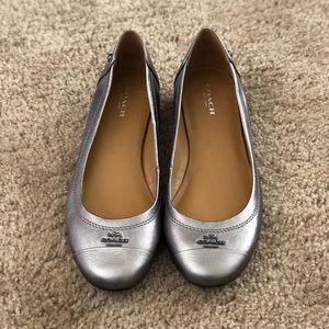 Coach Chelsea Silver Flats - Never Worn